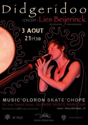 Affiche du concert de didgeridoo de Lies Beijerinck à Oloron Sainte Marie